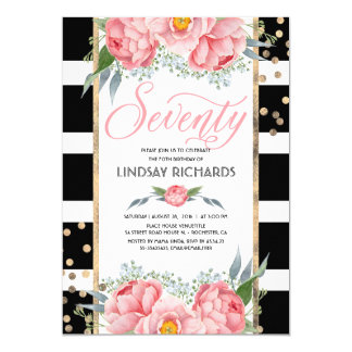 Floral Stripes Modern Gold Decor 70 Birthday Party Card
