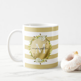 Floral & Stripes Monogram Coffee Mug