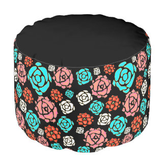 Floral |Stylish modern roses black round pouf