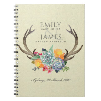 FLORAL SUCCULENT ANTLER BOHEMIAN ALLURE  WEDDING NOTEBOOK