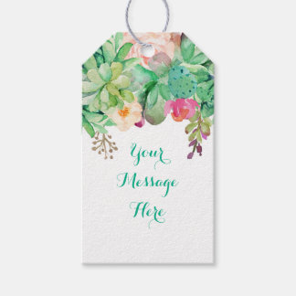 Floral Succulent Baby Shower Gift Tags