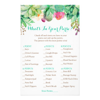 Floral Succulent Bridal What's In Your Purse Game Flyer