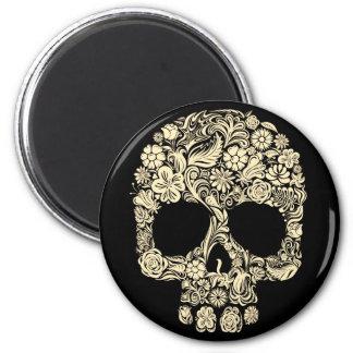 Floral Sugar Skull 2 Inch Round Magnet