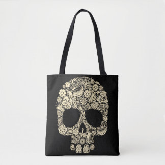 Floral Sugar Skull All-Over-Print Tote Bag