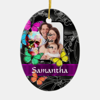 Floral sugar skull and butterflies ceramic oval ornament