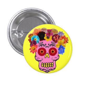 Floral Sugar Skull Clown 1 Inch Round Button