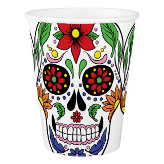 Floral Sugar Skull Day of the Dead Halloween Party Paper Cup