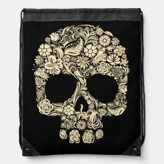 Floral Sugar Skull Drawstring Backpack