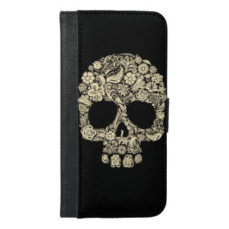 Floral Sugar Skull iPhone 6 Plus Wallet Case