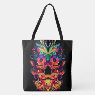 floral sugar skull neon all over print tote bag