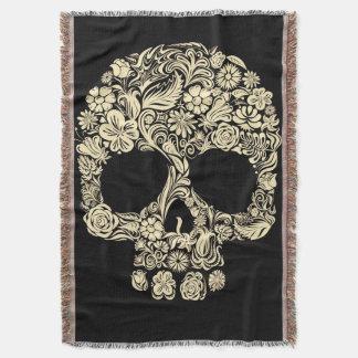 Floral Sugar Skull Throw Blanket