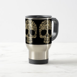 Floral Sugar Skull Travel Mug