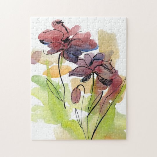 Floral summer design with hand-painted abstract 2 jigsaw puzzle