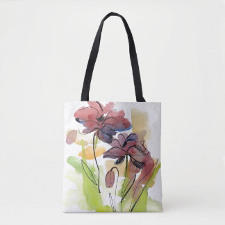 Floral summer design with hand-painted abstract 2 tote bag