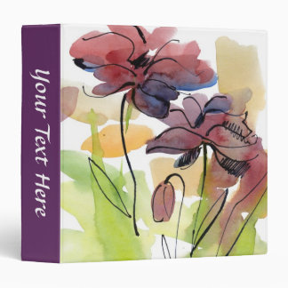 Floral summer design with hand-painted abstract 2 vinyl binders