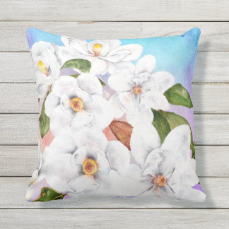 Floral summer Watercolor Outdoor Pillow