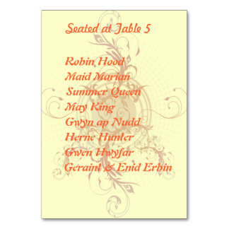 Floral Sun Handfasting Table Card with Guests
