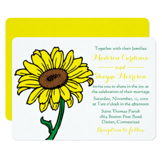 Floral Sunflower Wedding Yellow & Green Flowers Card