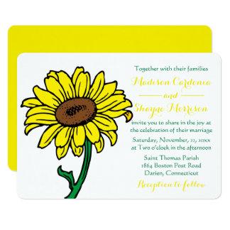Floral Sunflower Wedding Yellow & Green Flowers Card