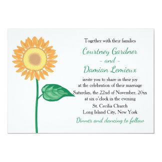 Floral Sunflower Yellow Gold, Green Flower Wedding Card