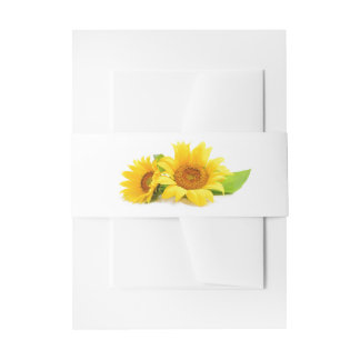 Floral Sunflower Yellow & Green Flowers Belly Band Invitation Belly Band