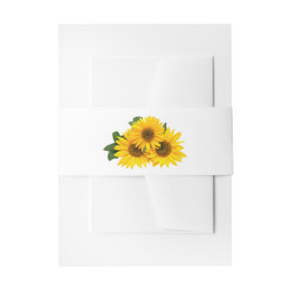 Floral Sunflower Yellow & Green Flowers Wedding Invitation Belly Band