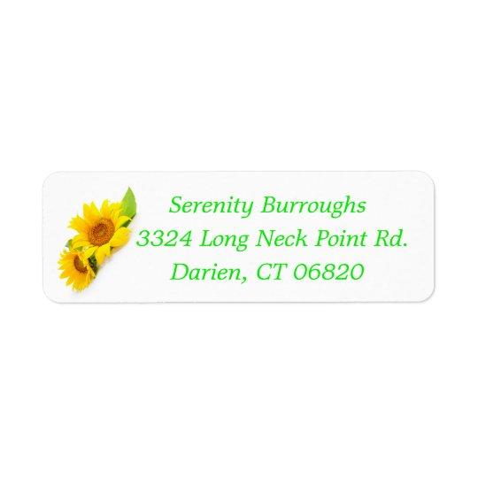 Floral Sunflower Yellow Sunflower Flowers Return Address Label
