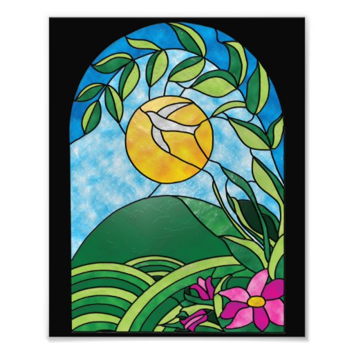 Floral Sunlight Vintage Stained Glass Style Photographic Print