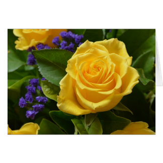Floral Sunny Yellow Rose & Purple Flower Blank Card