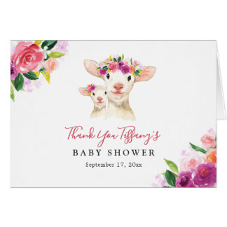 Floral Sweet Mom And Baby Lamb Baby Shower Card