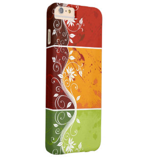floral swirl art on red,orange,green background barely there iPhone 6 plus case