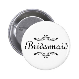 Floral Swirl Border Bridesmaid 2 Inch Round Button