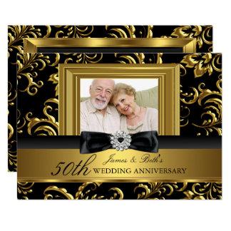 Floral Swirl Bow Photo 50th Wedding Anniversary Card