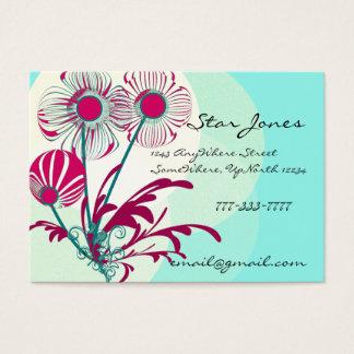 Floral Swirl Business Card -Rasberry Blue Sherbert