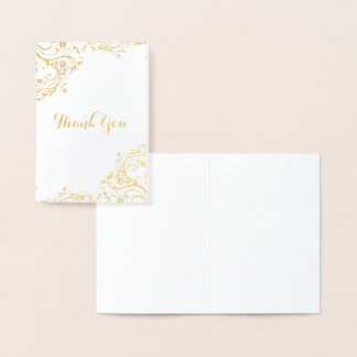 Floral Swirl Corner Thank You Foil Card