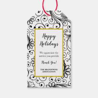 Floral swirl holiday thank you gift tag
