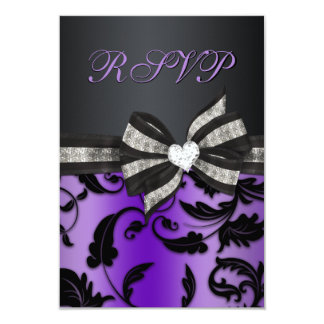 "Floral Swirl RSVP With Jeweled Bow 3.5"" X 5"" Invitation Card"