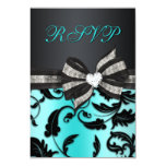 """Floral Swirl RSVP With Jewelled Bow 3.5"""" X 5"""" Invitation Card"""