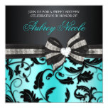 Floral Swirl Sweet Sixteen Invite With Jewelled