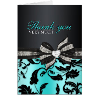 Floral Swirl Sweet Sixteen Thank You Card