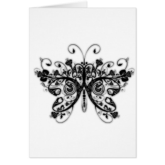 Floral Swirls Butterfly - Black & White Card