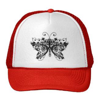 Floral Swirls Butterfly - Black & White Hat