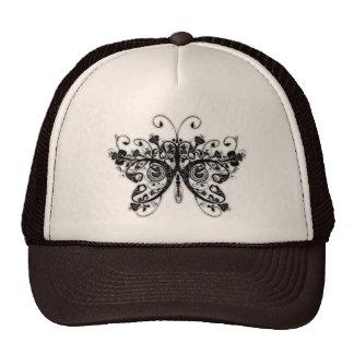Floral Swirls Butterfly - Black & White Trucker Hats