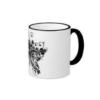 Floral Swirls Butterfly - Black & White Coffee Mugs