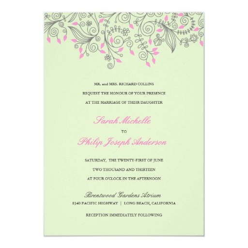 mint wedding invitations floral swirls mint green pink wedding invitations zazzle 5958