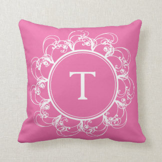 Floral Swirls Monogram Pillow pink