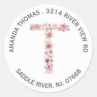 Floral T Initial Monogram Return Address Sticker