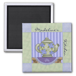 Floral Tea Pot Quilt Block Magnet