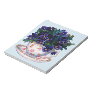 Floral Teacup Classic Vintage Illustration Notepad