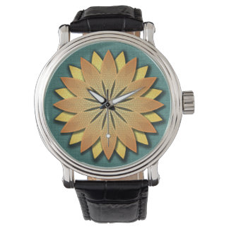 Floral Teal and Yellow Vintage Leather Strap Watch